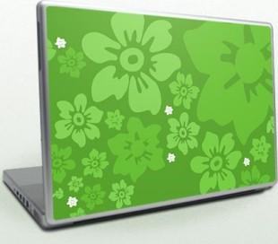 laptop_skin_flowers_green
